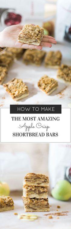 How to Make the Most Amazing Apple Crisp Shortbread Bars. Click through for the recipe. | glitterinc.com | @glitterinc