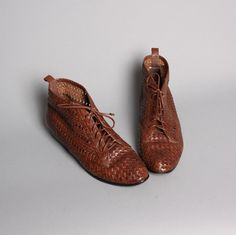 vintage 80s woven brown ankle boots