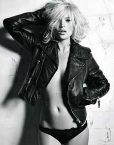 Kate Moss naked in leather jacket
