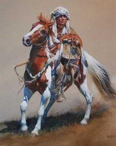 """War Horse"" - John Fawcett Native Horse w/rider Native American Horses, Native American Warrior, Native American Paintings, Native American Pictures, Indian Pictures, Native American History, American Indians, Native American Photography, Eskimo"