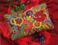 Kaffe Fassett Needlepoint | needlepoint kaffe fassett studio | Needlecraft  IT'S A PILLOW, BUT WOULD MAKE AN EXCELLENT RUG