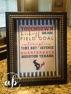 Houston Texans Printable Football Signs (Set of 4) $15.00 | Instant Download | Can be customized for your favorite team! #houstontexans #houston #texans #NFL