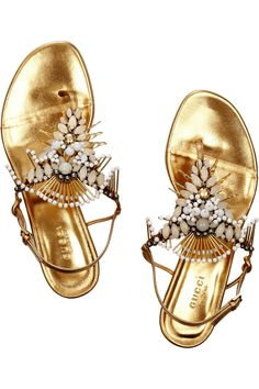 Gucci | Appliquéd leather sandals | NET-A-PORTER.COM