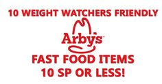 Arby's Light Italian Dressing (1 SP) Chopped Side Salad (3 SP) Jr. Turkey and Cheese Sandwich (6 SP) Jr. Ham and Cheddar Sandwich (6 SP) 2 Prime-cut Chicken Tenders (6 SP) or 3 tenders (9 SP) Jr. Roast Beef Sandwich (7 SP) Chopped Farmhouse Salad- Roast Turkey (7 SP) Jr. bacon cheddar melt (8 SP) Ham and Swiss Croissant (9 SP) Jr. Chicken Sandwich (9) Probably stay away from the King's Hawaiian Roast Beef & Swiss Max Sandwich (25 WW SP)! and the regular Jamocha Oreo Swirl Shake (33 WW SP)…