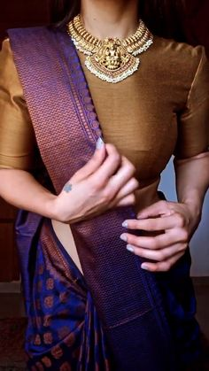 Blouse Designs High Neck, Saree Blouse Designs, Salwar Designs, Bridal Sarees South Indian, Indian Bridal Outfits, Trendy Sarees, Stylish Sarees, Saree Wearing Styles, Saree Trends