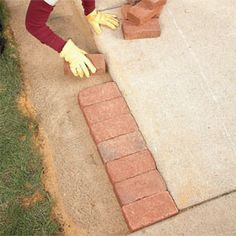 step by step for the brick border