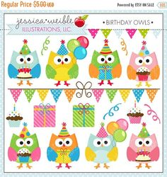 ON SALE Birthday Owls Cute Digital Clipart for by JWIllustrations