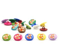 Kinderknopf+aus+Kunststoff+FOX,+niedlicher+Fuchs,+10+Farben