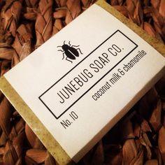 Coconut Milk & Chamomile handmade soap. Available at www.etsy.com/shop/JunebugSoapCo