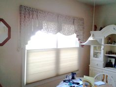 "Valance window treatment over a ""top-down / bottom=up"" cellular shade. This is in a kitchen area window. Room, Windows, Window Styles, Home Decor, Curtains, Blinds For Windows, Custom Drapery, Drapery Fabric, Valance Window Treatments"
