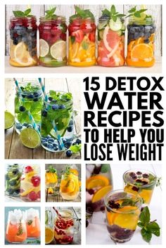 15 detox water recipes for weight loss and clear skin! - 15 detox water recipes for weight loss and clear skin! Detox Water To Lose Weight, Detox Water For Clear Skin, Detox Cleanse For Weight Loss, Cleanse Detox, Diet Detox, Stomach Cleanse, Detox Foods, Water Weight, Juice Cleanse