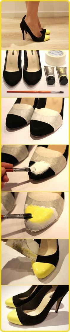 Colour blocked shoes tutorial | What a great way to upcycle a pair of shoes w/ scuffed toes!