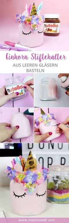 Make DIY unicorn pen holder from empty Nutella glasses yourself - Cool DIY upcycling idea!, Make DIY unicorn pen holder from empty Nutella glasses yourself - Cool DIY upcycling idea! The highlight of my DIY idea: I made the pen holder from em. Upcycled Crafts, Diy And Crafts, Creative Crafts, Fun Crafts, Sewing Crafts, Paper Crafts, Cool Diy, Easy Diy, Diy For Kids