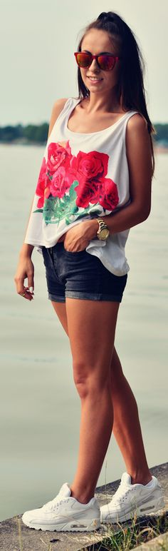 Romwe White Rose Print Tank by Furious Squirrel