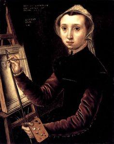 1548 self-portrait of Levina Teerlinc, a Flemish miniaturist that became an English royal painter to Henry VIII, Edward VI, Mary I and Elizabeth I.