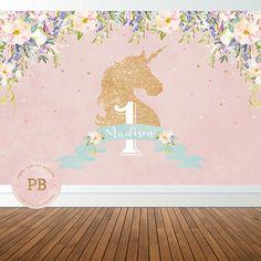 Digital Unicorn Birthday Party Backdrop Unicorn Backdrop