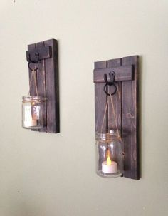 Wooden Candle Holder Rustic Wall Sconce Mason Jar by CoveDecor