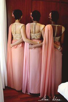 Helani's Wedding: Bridal Party Hair, Make-up, Fashion. Stunning! Sarees designed by www.gatherandstitch.com (Sydney)