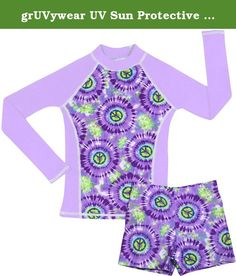 grUVywear UV Sun Protective UPF 50+ Girls Long Sleeve Rash Guard and Shorts Set (M 7-8, Hippy Peace). Sporty girls go crazy for our 2 piece long sleeve shirt and matching short shorts set. This fashionable set will give her maximum sun protection for the beach, pool or just hanging out. They are UPF 50+ providing the highest in UV protection. Let her have fun in the sun with peace of mind knowing she will be protected from the sun's harmful UV rays. Comfortable, non binding, short shorts...