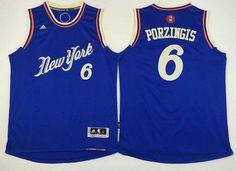 Men's New York Knicks #6 Kristaps Porzingis Revolution 30 Swingman 2015 Christmas Day Blue Jersey