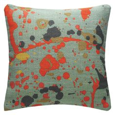 SPLATTER Multi-coloured splatter printed cotton cushion 50 x 50cm