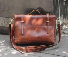 "Handmade Leather Briefcase / Leather Messenger Bag / 13"" 15"" MacBook 13"" 14"" Laptop Bag - n36-7"