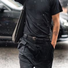 http://chicerman.com  billy-george:  Black on black on black.  #streetstyleformen