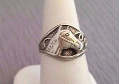 Wonderful English Sterling Silver Equestrian Horse 3D Signet Style Ring ~Size 7
