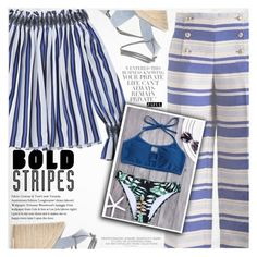 """""""Strong Stripes: Graphic Striped Pants"""" by vanjazivadinovic ❤ liked on Polyvore featuring Yves Saint Laurent, stripedpants, polyvoreeditorial and zaful"""