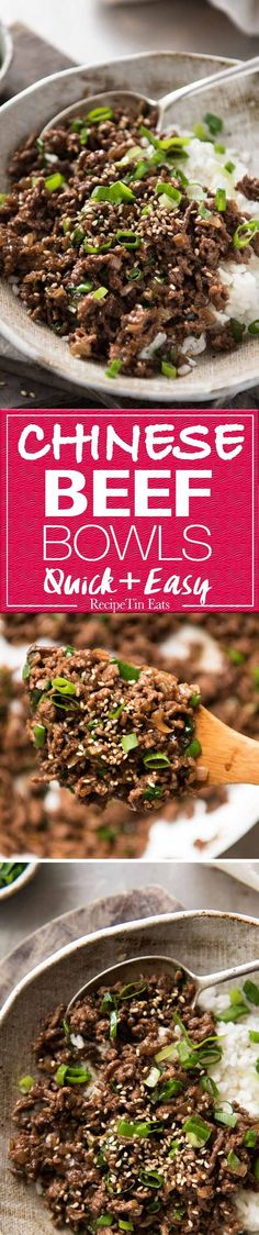 These Asian Beef Bowls are a terrific quick meal. A simple sauce with deep savoury flavours made with pantry staples, takes less than 15 minutes to make! www.recipetineats.com
