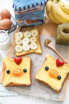 Make breakfast (or brunch) with Banana French Toast Chicks. Too cute! | Bento Monsters