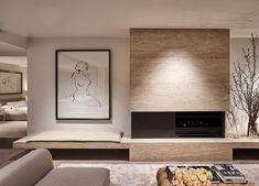 Interview: Bates Smart Directors home Interview: Jeffery Copolov and Kristen Whittle of Bates Smart Home Living Room, Interior Design Living Room, Living Room Designs, Living Room Decor, Living Spaces, Taupe Living Room, Interior Decorating, Decoration Bedroom, Fireplace Design