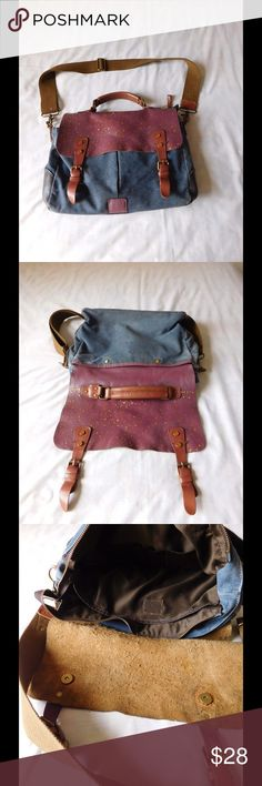 Leather-Denim Vintage Bag W/ Glitter Detail Vintage condition: not perfect. Super spacious. Gorgeous colors and combination. Selling as is. Measurements: 13.5 inches wide - 10 inches length. Save $$$ on bundles. Negotiable Price. Bags Crossbody Bags