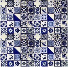 BLUE & WHITE Mexican Tile Handmade Talavera Backsplash Handpainted Mosaic