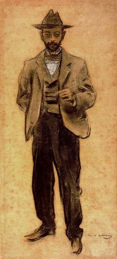 Ramón Casas (Catalan-Spanish, 1866-1932), Retrato de Manolo Hugué, 1897-99. Charcoal, with colour highlights and gouache, 62.2 x 29.5 cm. Museu Nacional d'Art de Catalunya, Barcelona.
