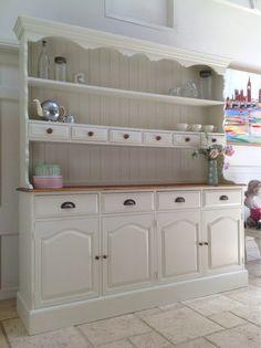 Large 6ft Painted Cream Solid Pine Welsh Dresser Kitchen Cabinet Unit