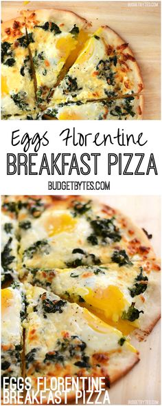 This creamy Eggs Florentine Breakfast Pizza combines a garlicky white sauce, mozzarella, spinach, and a perfectly silky yolk for an easy yet stunning meal. BudgetBytes.com