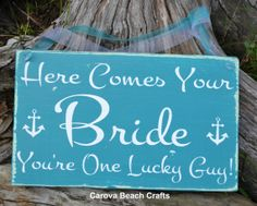 Wedding Sign  Wedding Decor  Beach Wedding  Here Comes The Bride Anchor Décor Sign Hand Painted by CarovaBeachCrafts