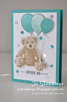 Jo's Stamping Spot - Just Add Ink #313 - Birthday card using Baby Bear stamp set by Stampin' Up!