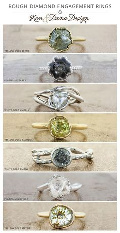 A rough, or uncut diamond engagement ring lends a unique and rustic look to an engagement ring. Custom rings by Ken & Dana Design.