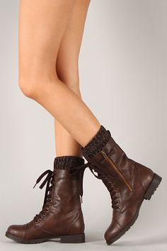 Liliana Astro-1 Round Toe Lace Up Mid Calf Boot