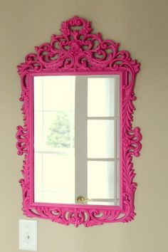 very nice, would add colour to a neutral room. Pink mirror.