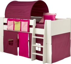 Girls Bunk Bed, Kids White Mid Sleeper Bed, Cabin Bed, with Pink Tent Tunnel & Pocket by Steens, http://www.amazon.co.uk/dp/B00D5PTYTA/ref=cm_sw_r_pi_dp_VPfqtb1QEC86V