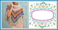 Imagini pentru crochet round neck yoke chart for all sizes from baby to an adult woman? Southern Diamonds Poncho Stitch Diagram Rounds by ELK Crochet Shawl Diagram, Crochet Poncho Patterns, Shawl Patterns, Crochet Chart, Crochet Scarves, Crochet Clothes, Crochet Stitches, Free Crochet, Knitting Patterns