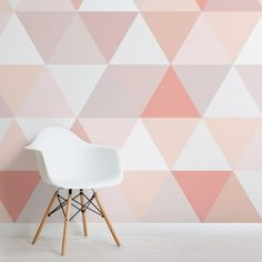Pink and Nude Geometric Triangle Pattern Wallpaper Mural Modern Wallpaper, Pink Wallpaper, Pattern Wallpaper, Pink Geometric Wallpaper, Wallpaper Murals, Photo Wallpaper, Wallpaper Designs, Triangle Wall, Triangle Pattern