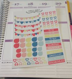 Heart Planner Sticker Kit in Pinks Greens and by starletsdoodles
