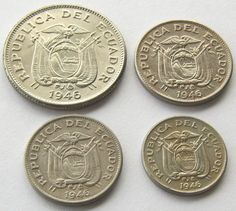 Ecuador, Full Set of 4 coins: 1 Sucre, 5, 10 and 20 centavos 1946, UNC!