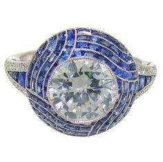 Handmade Platinum, Diamond  Sapphire Ring