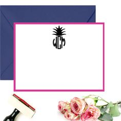 Personalized Stationery Stamp Pineapple by SouthernPaperAndInk