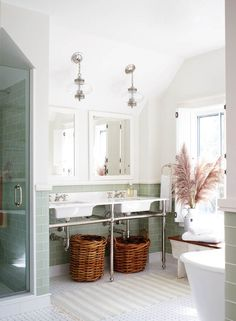 green glass tile + chrome accents